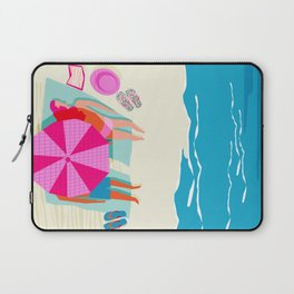 Toasty - memphis throwback minimal retro neon beach surfing suntan waves ocean socal pop art Laptop Sleeve