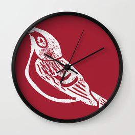 Black Capped Vireo - Hand Carved Stamp Wall Clock
