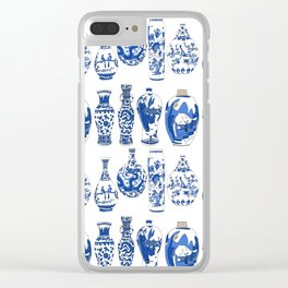 Blue Vases Clear iPhone Case