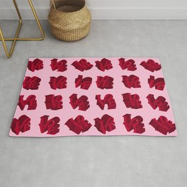 LOVE 3D Icon on pink background Rug