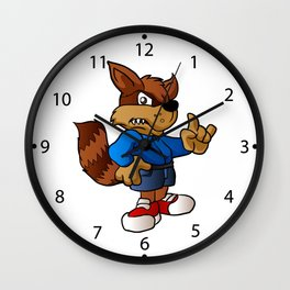 angry raccoon cartoon . Wall Clock