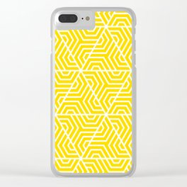 Sizzling Sunrise - yellow - Geometric Seamless Triangles Pattern Clear iPhone Case