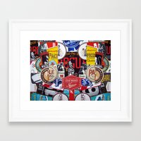coasters Framed Art Prints featuring Dead Guy Shiner Collage by Jen Gotsch