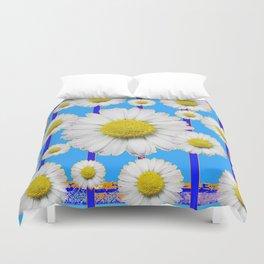 Modern Art Blue Shasta Flowers Pattern Duvet Cover