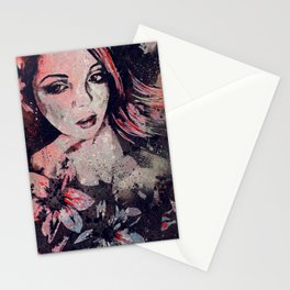 Ruined Our Everything: Red (graffiti flower lady portrait) Stationery Cards
