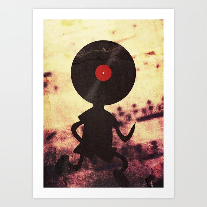 Vinyl Record Man - Vinylized! Vinyl Records Retro Grunge Music Vintage DJ  Art Art Print by denismarsili