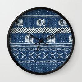 Mud Cloth Geometric Stripe Navy Wall Clock