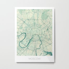 Moscow Map Blue Vintage Metal Print
