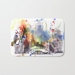 Chicago Bean Cityscape Watercolor Painting Bath Mat