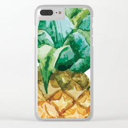 Pineapple , tropical , hawaii , summer , fruit , Clear iPhone Case