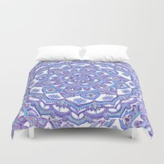 Lilac Spring Mandala - floral doodle pattern in purple & white Duvet Cover