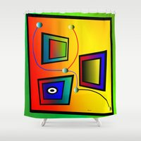 frames Shower Curtains featuring Mysterious frames I by Horacio Moschini