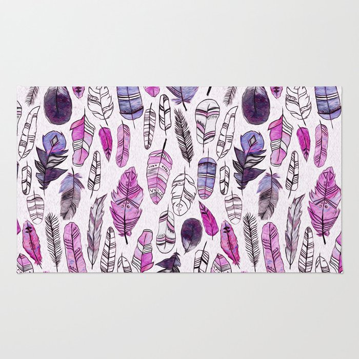 Purple Feathers Rug