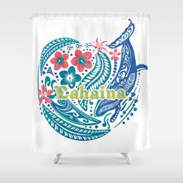 Lahaina Watercolor Whale Shower Curtain