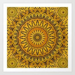 Golden Lace Mandala Pattern Art Print