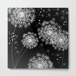 DANDELION SNOWFLAKE BLACK Metal Print