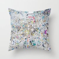 posters Throw Pillows featuring Old posters by katti