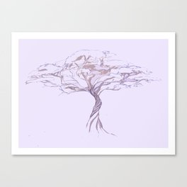 Quiet Acacia Zen Tree , Earthy African Bonsai Peace Lavendar Purple Canvas Print