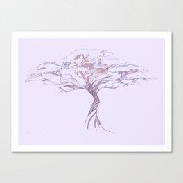Quiet Acacia Zen Tree , Earthy African Bonsai Peace Lavendar Purple Canvas Print