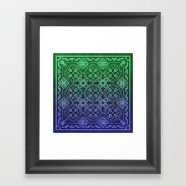 Pixel Patterns Blue Green Framed Art Print