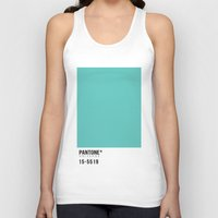 pantone Tank Tops featuring Pantone Turquoise by Mariana Nabas