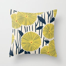vintage, retro yellow, red and navy flower pattern Throw Pillow
