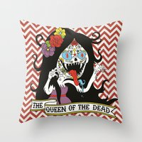 marceline Throw Pillows featuring Muertos Marceline by Jade Boylan