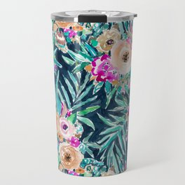 SO CASUAL Dark Tropical Palm Floral Travel Mug