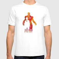 Iron Man MEDIUM White Mens Fitted Tee
