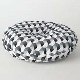 Night Watch Pewter Green Hexagon, Cube Pattern Optical Illusion Floor Pillow