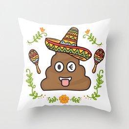Emoji Poop Cinco De Mayo Funny Throw Pillow