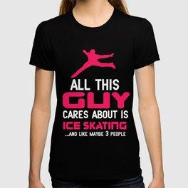 Lovely Gift Ice Skating Tshirt Design Cares about sakating T-shirt