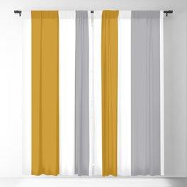 Quatro Stripe Minimalist Broad Stripe Color Block Pattern in Mustard Yellow, Navy Blue, Gray, White Blackout Curtain