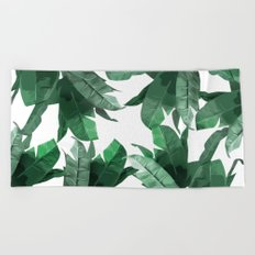 Tropical Palm Print Beach Towel