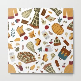 Festive and Seasonal Fall Pattern with Autumn Essentials Metal Print
