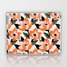 Bold orange poppy on a soft pink base Laptop & iPad Skin