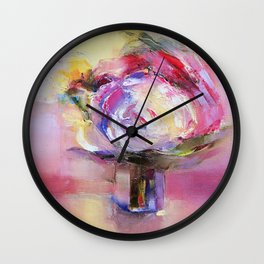 """''Pink"""" oil on canvas by Diana Grigoryeva Wall Clock"""
