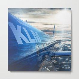 klm airplane flying on the sky Metal Print