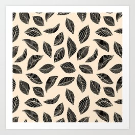 Falling Leaves in black and ivory Art Print