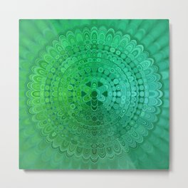 Green Mandala Circle Metal Print