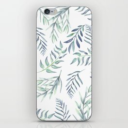 Floating Leaves Blue #society6 #buyart iPhone Skin