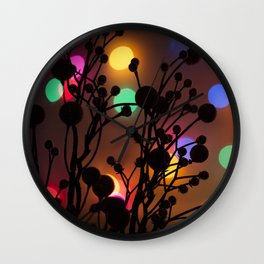 Holly Berries and Christmas Lights Wall Clock