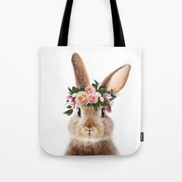 Baby Rabbit, Bunny With Flower Crown, Baby Animals Art Print By Synplus Tote Bag