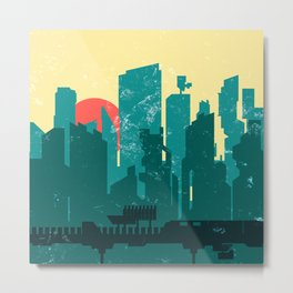 Damaged City Landscape. Metal Print