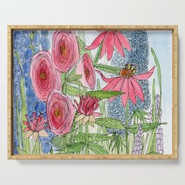 Summer Flowers Watercolor  Serving Tray