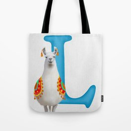 L is for Llama Tote Bag