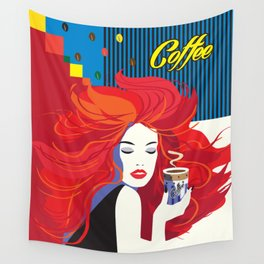 """""""Beautiful Fashion Woman and Coffee Cup"""" POP-ART poster, Retro, Design Wall Tapestry"""