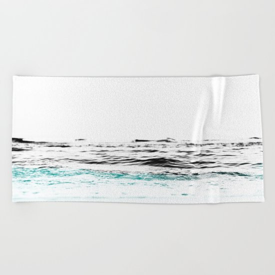 Minimalist ocean waves Beach Towel
