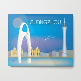 Guangzhou, China - Skyline Illustration by Loose Petals Metal Print