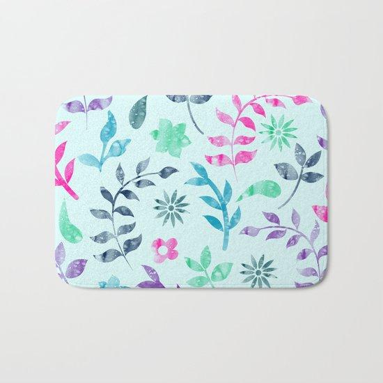 Seamless Flower Pattern Bath Mat